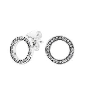 أصيلة 925 الفضة الماس عشيق أقراط الحب أقراط لحلق باندورا نمط مع المربع الأصلي