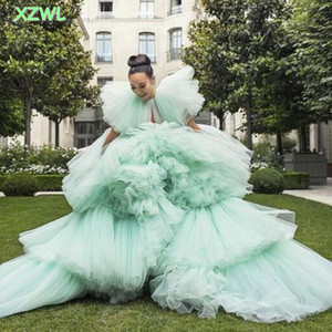 Mint Green Tulle Tiered Prom Dresses 2021 Summer Puffy Ruffles Cap Sleeves Evening Gowns Girls Celebrity Pageant Gowns
