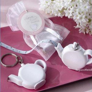 Love is Brewing Teapot Plastic Measuring Tape Keychain Portable Mini Key Chain Wedding Christmas Gift Favors ZA1221
