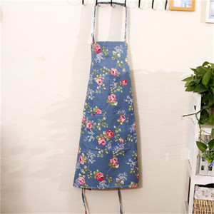 Kitchen Cooking Apron Plaid Flowers Printed Home Sleeveless Cotton Linen Aprons for Men Women Baking Accessories 53*65cm DBC BH4 23 K2