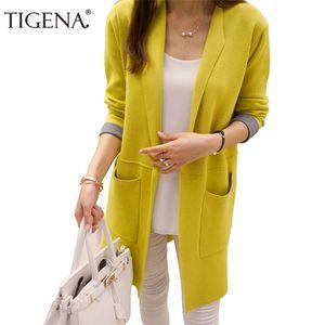 TIGENA 여성 2020 가을 겨울 긴 소매 카디건 스웨터 니트 가디건 여성용 자켓 Y200910 탑