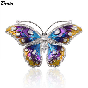 Donia Jewelry New temperament set zircon butterfly brooch enamel animal brooch two-color copper bottom ladies coat pin