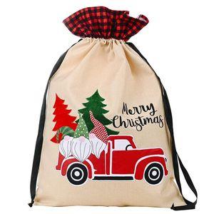 Christmas Sacks With Drawstring Santa Claus Truck Pattern Candy Gift Bag Kids New Year Xmas Home Decorations