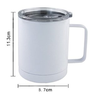 Cheapest 10oz Sublimation Blank Coffee Mug Car Cup Office Double Wall Sublimation Insualted Vacuum Drinking Water Tumbler With Handle