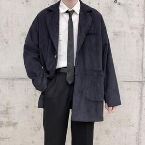 2020 Outono E Popular Inverno Juventude Nova Versão Coreana-breasted única cor sólida solto Suit Corduroy Moda Top Casual