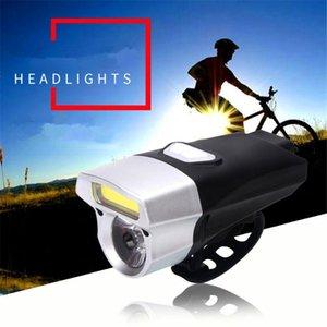 1pcs Mountain Bike Night Bike Handlebar LED + COB Light USB Rechargeable Double Lamp Waterproof Bicycle Light
