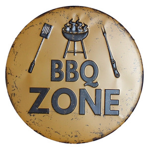BBQ Zone Retro Plaque Metal Tin Signs Cafe Bar Pub Signboard Wall Decor Vintage Nostalgia Round Plates Christmas Gift 30CM R006 201127
