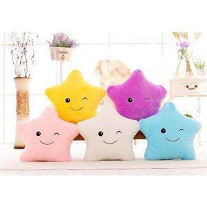 1pc LED Flash Light Hold pillow five star Doll Animals Toys lighting Children Christmas Gift Stuffed Plush toy