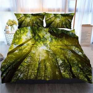 3D Printed Merry Christmas Bedding Set Sunlight Through The Forest Home Luxury Soft Duvet Comforter Cover