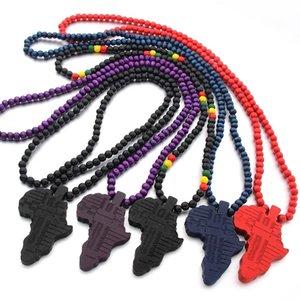 Collar colgante mapa nueva África para el colgante de madera hombres de las mujeres color de la joyería al por mayor de Etiopía Mapas africanos Hiphop Para Hombres Mujeres joyería