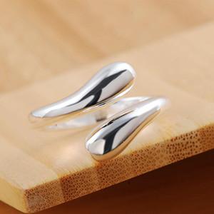 Silver Color Rings Fashion Jewelry Free Shipping Teardrop Shaped Wemen Lady Wedding Open Ring Drop Wedding R012 H sqcClk