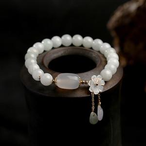 Natural Jade Emerald Ágata Beads ajustável Bangle Charme Jóias Yoga Water Drop Shell Flower Pendant Mulher Bracelet