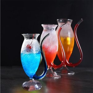 Creative Goblet Mug with Straw for Cold Drink Home Use and Party Night Bar Drinking Wine Juice Glass Squirrel Cup