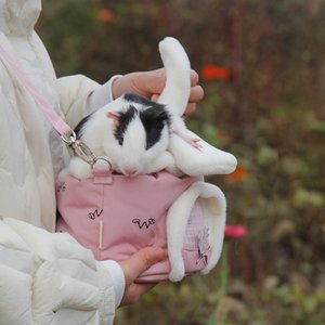 Pet Tavşan Kulak Şekli Pembe Ve Mavi ile Tavşan Hamster Küçük Hayvan Seyahat Çanta için Pet Sırt Çantası Malzemeleri