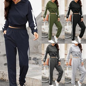 Hooded Tracksuit Women Two Piece Set Autumn Winter Clothes Hoodies Side Stripe Patchwork Sweatshirt and Pants Sweat Suit Outfits