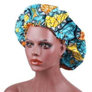Élastique Taille réglable Bonnet femme Nightcap Chimiothérapie Satin Doublé africains Imprimer Bonnets