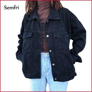 Semfri Denim Femme Noir Veste d'hiver Casual Harajuku Streetwear Femme Jeans Vintage Manteau Dropshipping Y201012