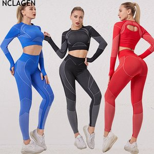 Fitness Suit Long Sleeve Sports High Wist Tight Gym Sport Workout Running Stretchy Push-up T-shirt Leggings Yoga Set