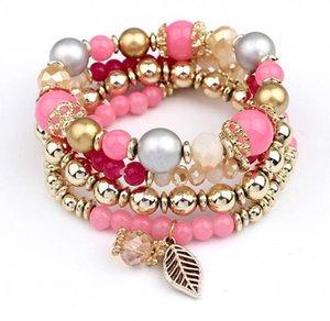 Bracciali Charms per le donne perle di colore caramella nappe braccialetti del braccialetto per le donne elastico Stretch bordato il braccialetto