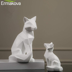 ERMAKOVA Geometric Fox Sculpture Animal Statues Simple White Abstract Ornaments Modern Home Decorations 201210