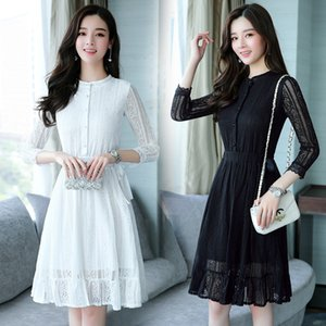 Autumn Winter Plus Size Vintage Black Lace Midi Dresses Women Elegant Bodycon Dress Party Long Sleeve White Runway Vestidos 201022