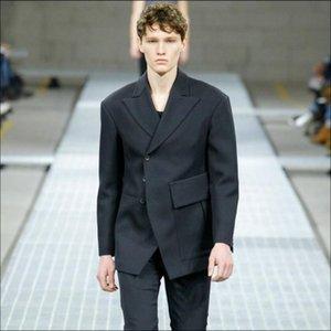 2020 Средний костюм мужской куртки и длительное асимметричное дикое пальто тенденции больших черных пиджаков Новая личность S-6XL 2YRZ