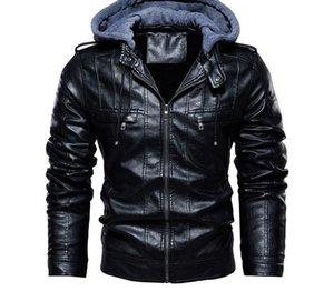 Oeak Motocycle Mens Leather Jackets 2019 Autumn Winter Fashion Patchwork Hooded Jacket Biker Leather Coats Men PU55