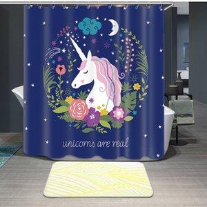 Einhörner gedruckte Duschvorhänge 12 Haken Wasserdichte Badezimmer Vorhänge Qualität Polyester Badvorhang Home Decoration Sea Ship GWB4770