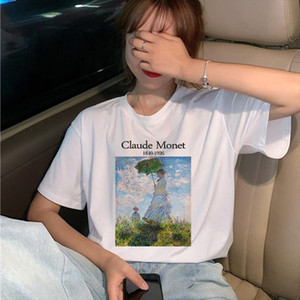 Claude New Summer Female Art Large Size Loose Short Sleeve Casual Letter Printing Harajuku ins tops tees Vintage T Shirt