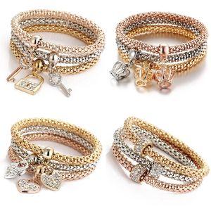 Tricolor costume strass bracelet bracelet bijoux Ensemble femme pendentifs bracelage mode élastique corporel chaîne de papillon amour coeur 5 99hs f2b