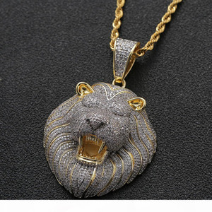 Iced Out Micro Pave Cubic Zircon Hiphop Lion Head Pendant Necklace for Men Women Hip Hop Bling Party Jewelry