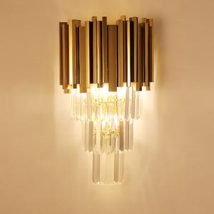 Modern wall lamps Luxury crystal wall lamp AC110V 240v luster cristal living room bedroom lighting gold wall lamp