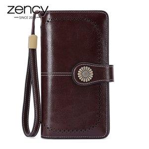 Zency - Реальный большой емкости кошелек женщин, Can, высокое качество Длинный кошелек, черный и серый