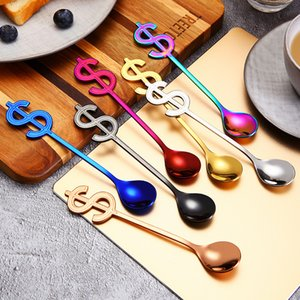 Placcatura in titanio Spirring Cucchiaio in acciaio inox Dessert Semplicità Cucchiai Cucchiai nuovi con argento Blu Nero Gold Colors 4ZF J1
