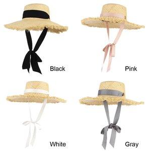 GEMVIE Handmade Weave Raffia Straw Hat For Women Wide Brim Floppy Sun Hat Summer Hats Lady Beach Cap With Chin Strap Fashionable 201015