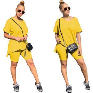 2020 Summer New Womens 2 Pieces Shorts Sets T-shirt + Biker Shorts Outfits Elastic High Rise Shorts Suits Set Q0114