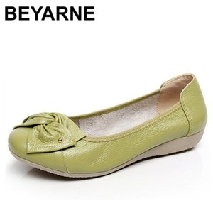 BEYARNE Genuine Leather Shoes Women Butterfly-knot Loafers Women Flats Ballet Autumn Winter Casual Flat Shoes Woman Moccasins 201012