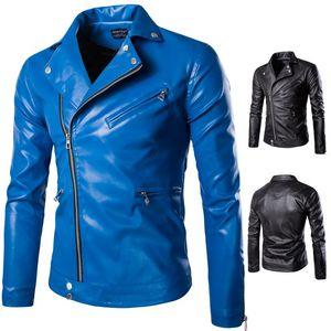 Alta Qualidade Men Slim Azul Leather Jackets Punk jaqueta de couro estilo Outono Nova Masculino Oblique Zipper PU Coats Tamanho 5XL