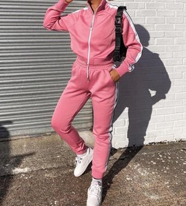 New Amazon wish cross border retro zipper leisure sports fashion suit in autumn and winter