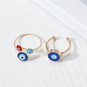 Кластерные кольца 1шт старинные этнические злые глаза открытое кольцо для женщин Богемский уникальный золотой цвет регулируемый круглый палец турецкие ювелирные изделия подарок1