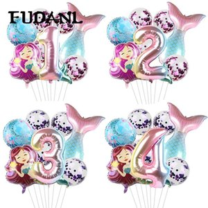 8pcs lot Mermaid Party Balloons 32inch Number Foil Balloon Kids Birthday Party Decorations Baby Shower Decor Helium Globos