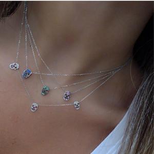 kadınlar 1020 için Kafatası çekicilik gerdanlık Y lariat kolye ince 925 ayar gümüş takı