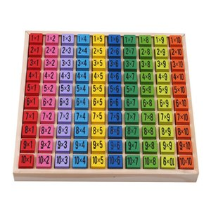 Baby Wooden Toys 99 Multiplication Table Math Toy 10*10 Figure Blocks Baby Learn Educational Montessori Gifts LJ200907