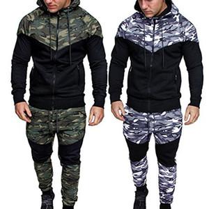 رياضية الرجال البلوز الأعلى السراويل مجموعات الرياضة البدلة الذكور سستة جيب طويلة الأكمام المسار دعوى الركض السراويل الرجال trainingspak LJ201125
