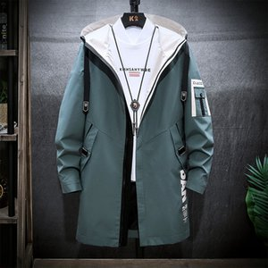 Jacket Man Spring and Autumn 2020 youth fashion matching color medium-length trench coat with a hat leisure jacket