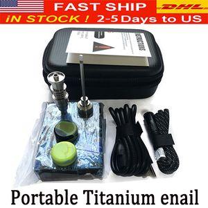 Portable Titanium enail Electric dab nail PID Temperature Controller E Nail Dnail kit wax vaporizer 16MM 20MM oil rig dabber box glass bong