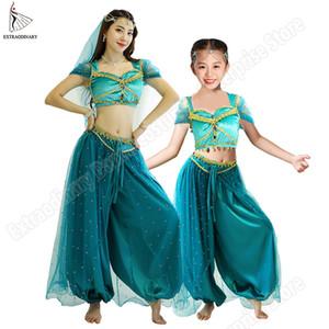 Belly Dance Jasmine Princess Costume Halloween Women Children New Bollywood Top Pants Veils Kids Princess Outfit 200928