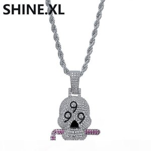 Hip Hop Iced Out Chain Solid 999 Skull Pendant Necklace Silver Plated Micro Paved Zircon Mens Bling Jewelry
