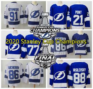 2020 Stanley Cup Champions Tampa BayLightning Jersey 91 Steve Stamkos Jersey 86 Nikita Kucherov Jersey 77 Victor Hedman Hockey Jerseys