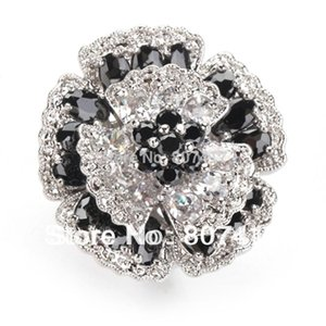 SHUNXUNZE big engagement Wedding flower Rings jewelry for women Black and White Cubic Zirconia Rhodium Plated R917 size 6-13
